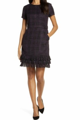 Forest Lily Tiered Fringe Boucle Sheath Dress $149.00