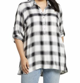 Single Thread Plaid Tunic Top $78.00