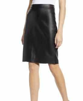 Cupcakes and Cashmere Faux Leather Pencil Skirt $108.00