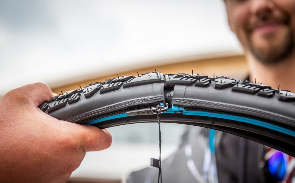 reTyre skin zipped over tire showing the join