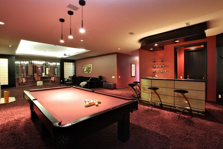 61 The Bridle Path - Billiards Room With Leopard Rug and Bar