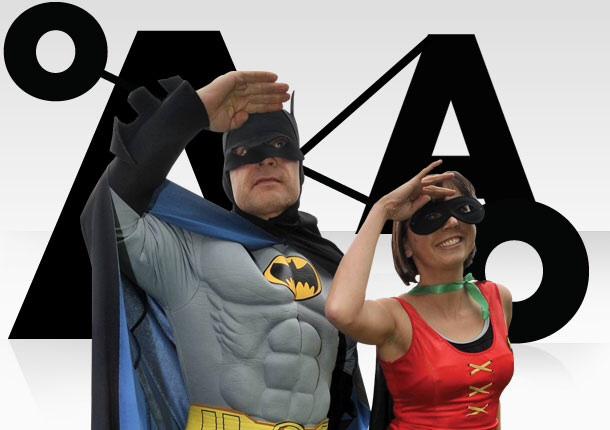 Superheros in front of Anthony Nolan logo