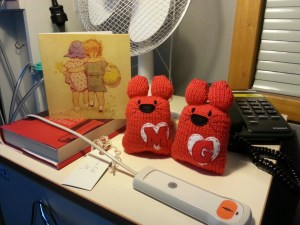 Two woolly cuddly cats called M and G on my bedside table