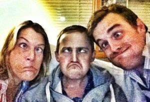 Harriet, George and Fred gurning