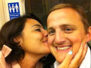 Mariacristina kissing George