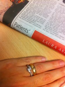 Mariacristina's ring finger with engagement and wedding ring