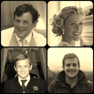 Mosaic of photos of George and siblings, older