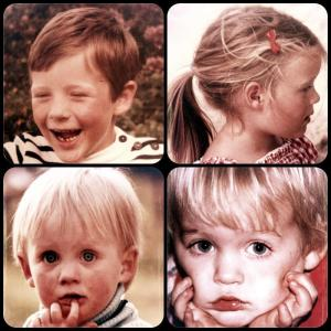 Mosaic of photos of George and siblings