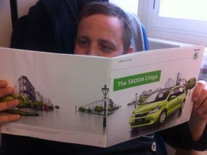 George reading a Skoda Citigo brochure