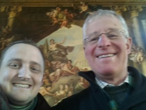 George and his father in the Painted Hall, Old Royal Naval College, Greenwich