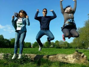 M, M and M jumping off a log