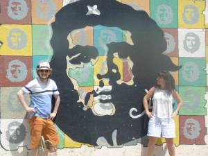 George and Mariacristina next to Che Guevara mural