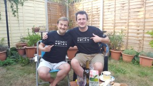 George and his stem cell donor Tim in the garden