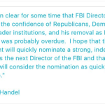 Handel refuses to criticize Trump's Comey firing