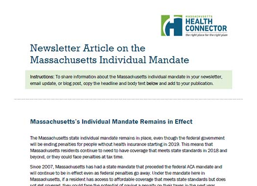 Individual Mandate newsletter content Thumbnail preview of document