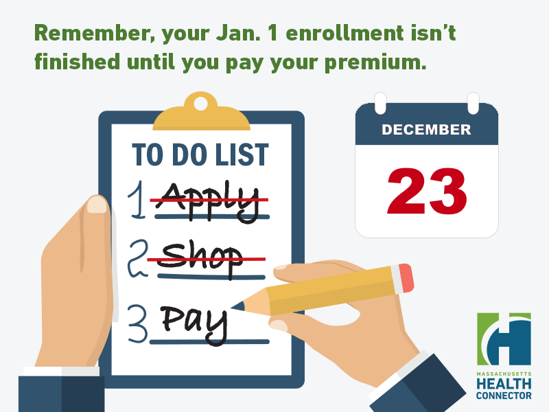 Remember, your Jan. 1 enrollment isn't finished until you pay your premium