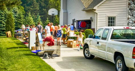 people visiting a garage sale