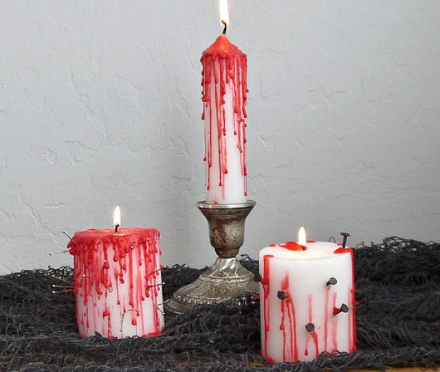 Creepy Halloween Diy Dripping Bloody Candles Dollar Store Cheap Budget Easy Crayons