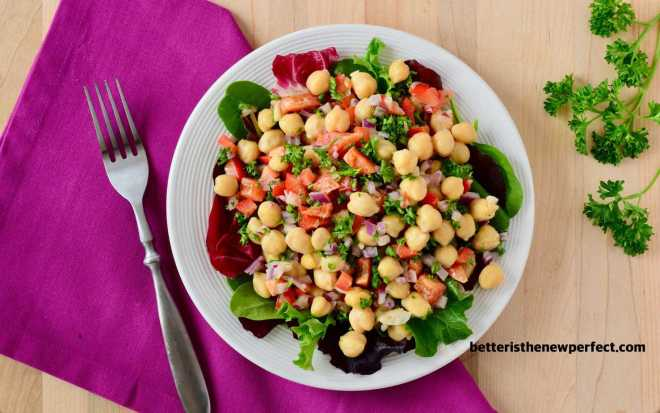 "chickpea salad is loaded with fiber and other ""good"" carbs"