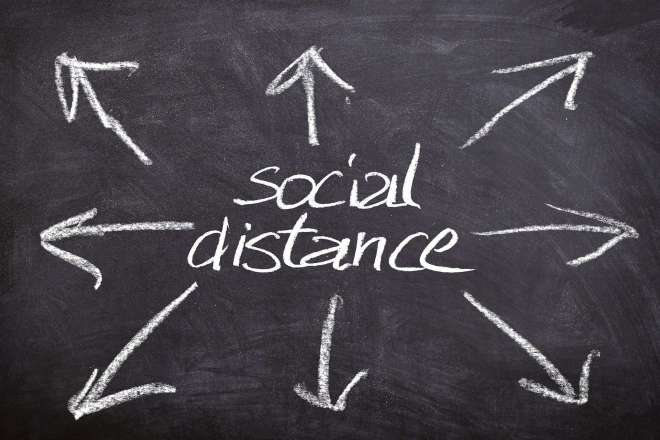 Social distance written on chalkboard with arrows
