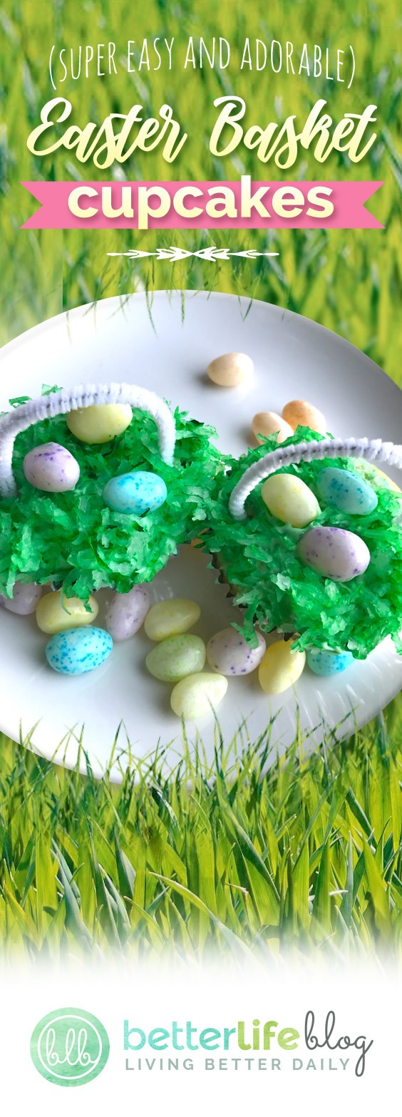 Easter Basket Cupcakes - Adorable Easter Desserts that are easy enough for the kids to help out with! Topped with coconut and Easter candies these cupcakes are super cute and festive. Enjoy!