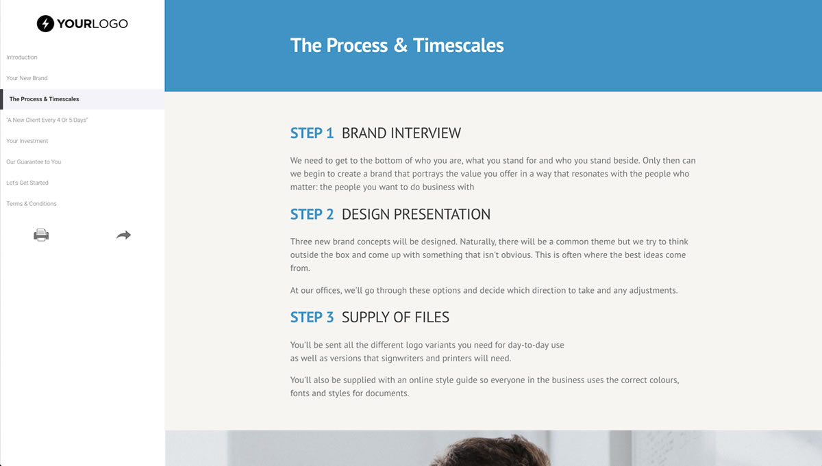 Free Sample Proposal Templates   Better Proposals Brand Design Proposal Template Proposal template for any designer or brand  specialist