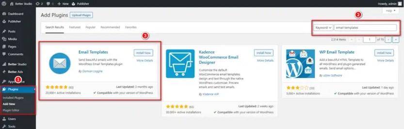 customize wordpress email