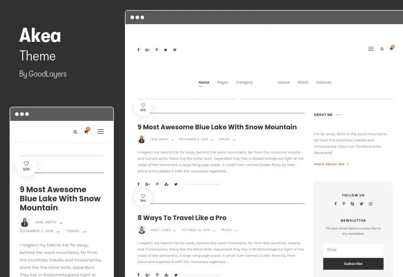 Akea Theme - WordPress Blog Theme