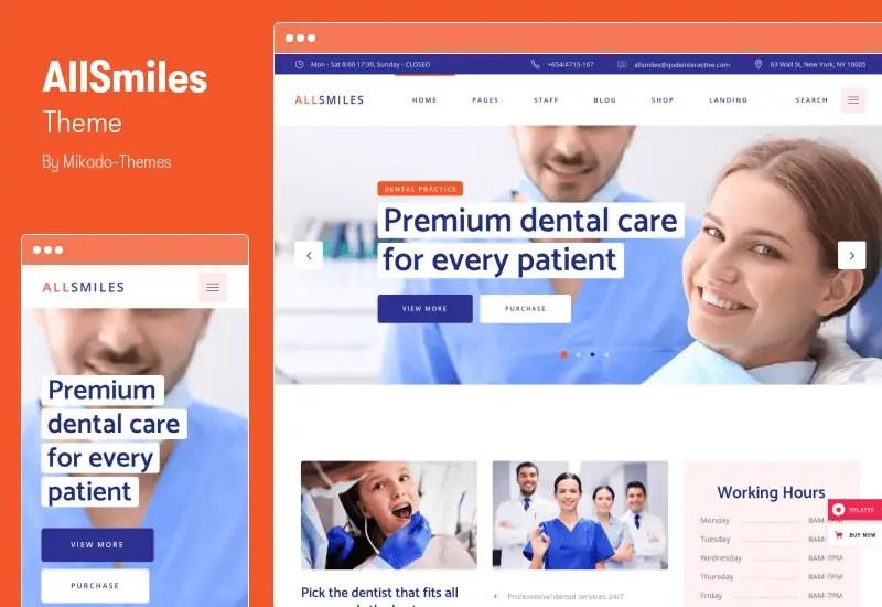 AllSmiles Theme - Dentist WordPress Theme