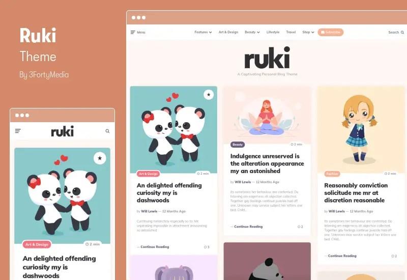 Ruki Theme - A Captivating Personal Blog Theme