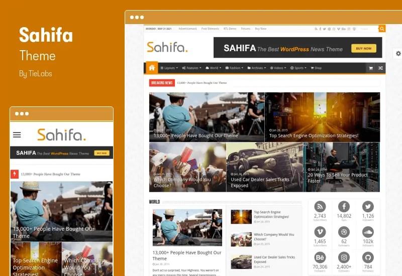 Sahifa Theme - Responsive WordPress News / Magazine / Blog Theme