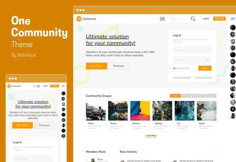 One Community Theme - BuddyPress Membership Elementor Theme