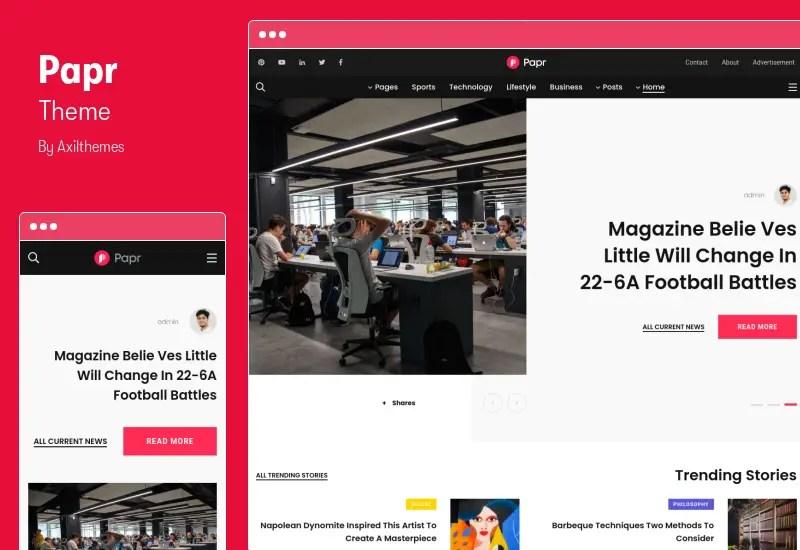 Papr Theme - RTL News Magazine WordPress Theme