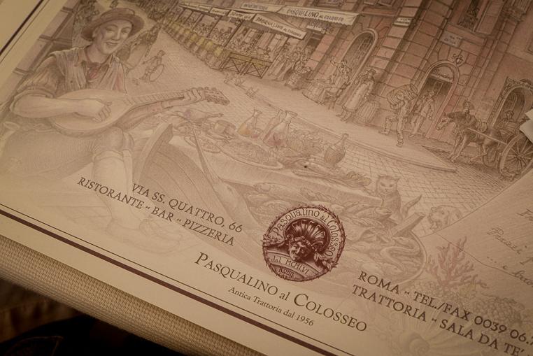 Pasqualino al Colosseo menu Rome restaurant recommend