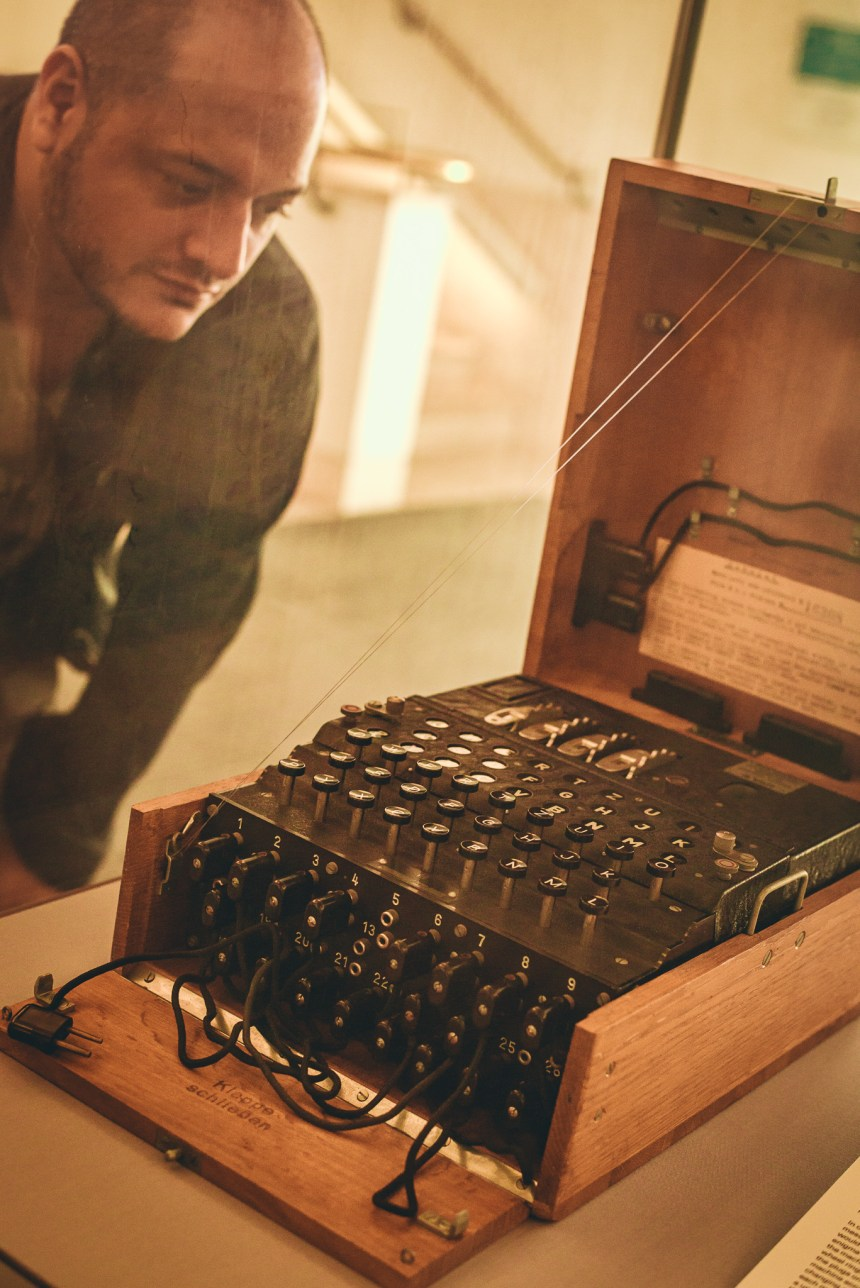 Enigma machine in London British Library experience
