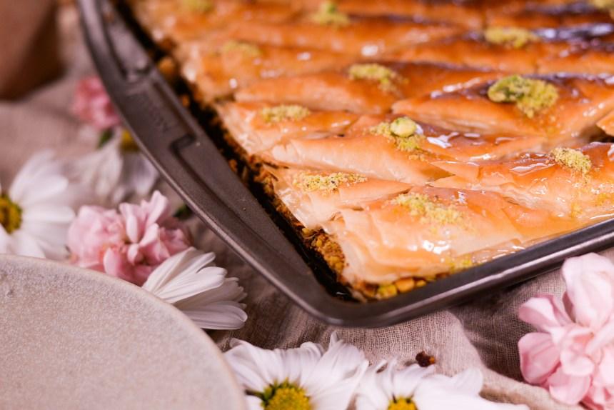 red bean and pistachio baklava