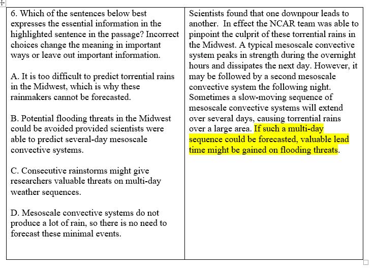 TOEFL Reading Paraphrase Question 6