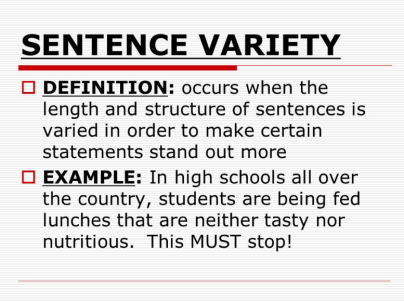 Sentence variety for TOEFL speaking and writing