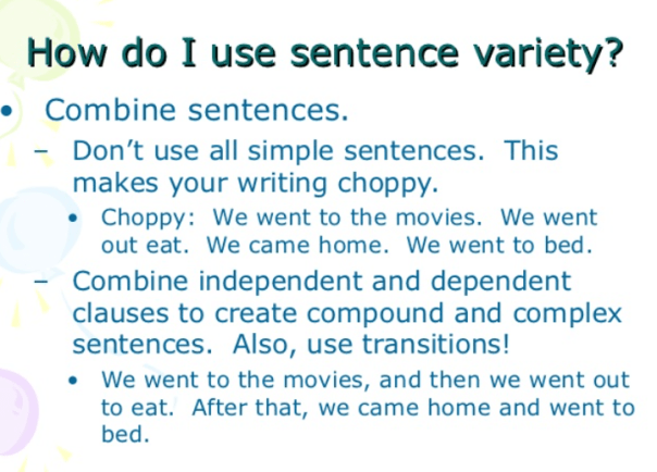 TOEFL sentence variety practice