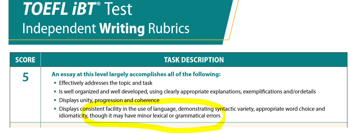 TOEFL iBT writing rubrics for 5.0