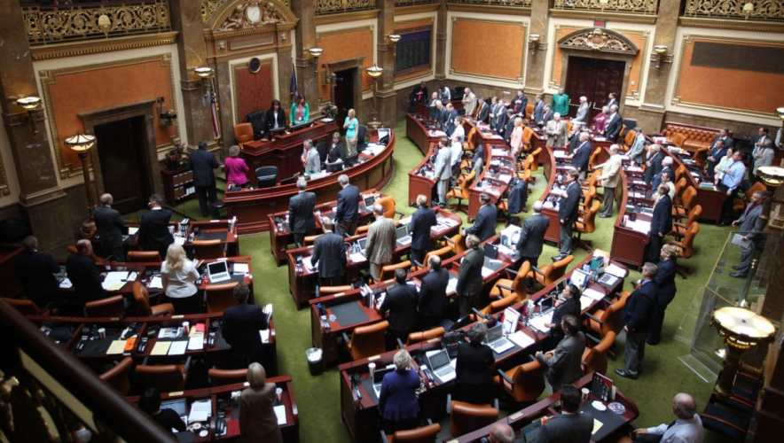 The Utah House is shown on the floor Wednesday, July 17, 2013, at the Utah State Capitol, in Salt lake City. House Speaker Rebecca Lockhart has named the nine House lawmakers including Seelig, who will serve on the special committee investigating allegations surrounding Attorney General John Swallow. Lockhart announced the members Wednesday after lawmakers convened in a special session. (AP Photo/Rick Bowmer)