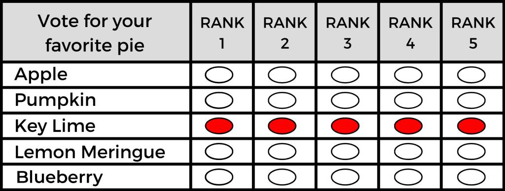 Example 2 Mock Ranked Choice Balllot