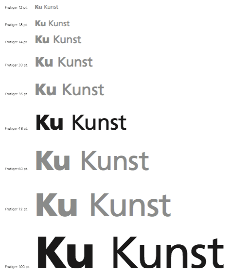 Typefaces and sizes for signage