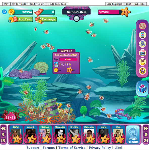 Once fish are purchased, players drop fish eggs in their reefs. The fish grow over time. Players can observe the progress of their fishes by selecting them individually. Once selected, a panel appears that provides the necessary information about growth progress, and the constantly increasing value of a fish.