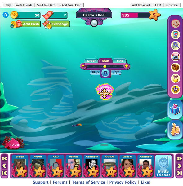 Players decorate their reef with items they purchase in the store.