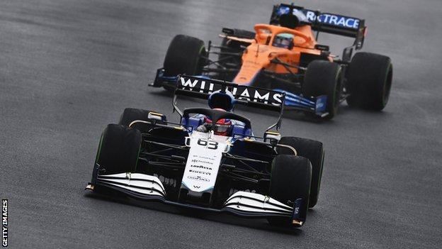 George Russell of Great Britain driving for Williams