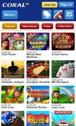 Casino games on the Coral Android app