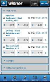 Placing a bet on the Winner.com mobile sports betting app