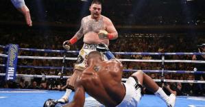 Andy Ruiz knocks down Anthony Joshua