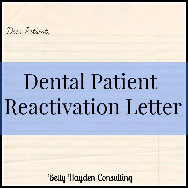 dental patient reactivation letter
